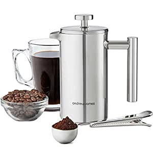 Andrew James 3 Cup 350ml Double Walled Stainless Steel Cafetiere Gift Set With Coffee Measuring Spoon And Bag Sealing Clip
