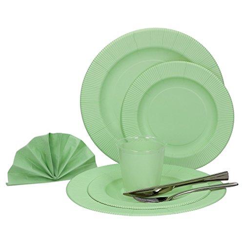 MamboCat 60-tlg. Einweggeschirr Party-Set Pastell Grün Matt | Pappgeschirr für 8 Personen: Pappteller + Becher + Servietten + Besteck | für Festliche Anlässe und Partys