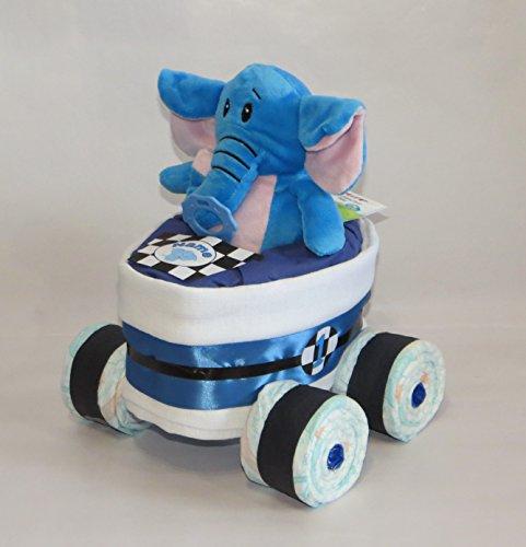 Pañales Pañales para tartas-Carreras Coche de Carreras + Elefante Azul