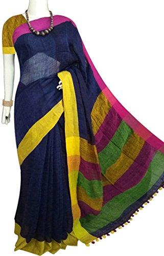 Bursana indigo 80 count pure linen saree in smart colour combination