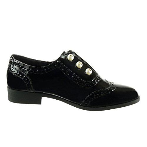 Angkorly - Chaussure Mode Derbies slip-on femme perle perforée verni Talon bloc 2.5 CM Noir