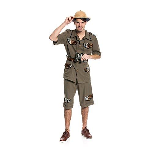 Kostümplanet® Safari-Kostüm Herren Dschungel Abenteurer Herren-Kostüm Größe 62