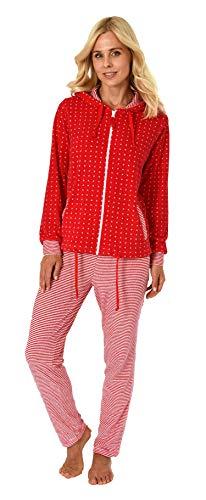 NORMANN WÄSCHEFABRIK Damen Frottee Hausanzug Sternedesign Homewear Loungewear - auch in Übergrössen bis 60/62, Größe2:52/54, Farbe:Tupfen rot