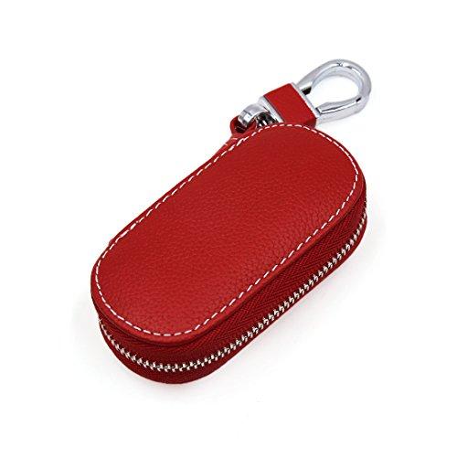 Sourcingmap® Multifunktion rot Kunstleder oval Reißverschluss Remote Auto Schlüsseltasche DE de Oval Safe