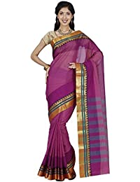CLASSICATE From the house of Classicate From The House Of The Chennai Silks - Poona Cotton Saree - Eggplant Magenta - (CCRISC272)
