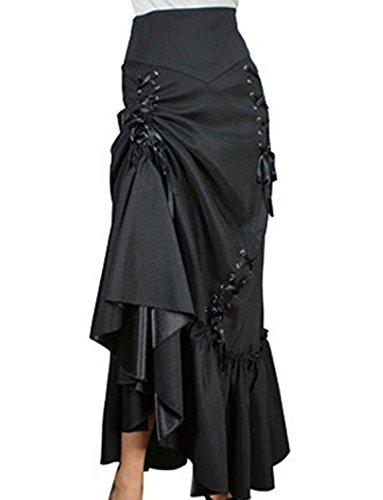 Falda de satén larga
