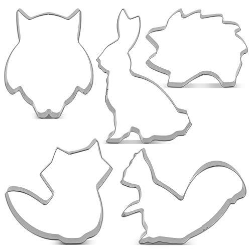 er Set Fondant Brot Ausstechformen für Kinder - 5 Stück - Fuchs, Eule, Hase, Lgel und Eichhörnchen Keksausstecher - Edelstahl ()