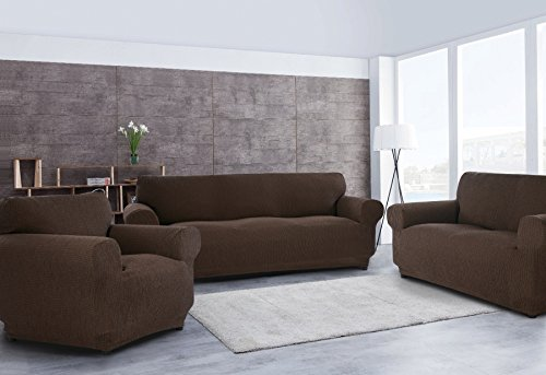 Sofabezug für 3-Sitzer + 2-Sitzer-Sofabezug + 1 Sesselbezug, dehnbar, anpassbar taupe