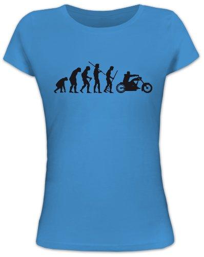 Shirtstreet24, EVOLUTION CHOPPER, Motorrad Biker Lady / Girlie Funshirt, Größe: XL, türkis