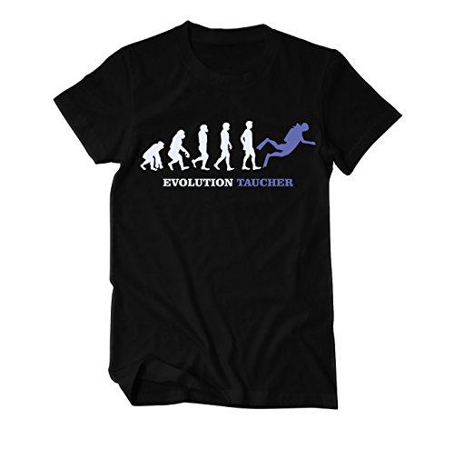 Evolution Taucher T-Shirt Herren Schwarz