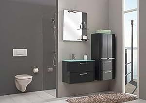 Pelipal nevo set de 3 meubles de salle de bain avec lavabo, meuble de lavabo et miroir base x