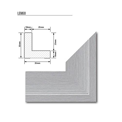 Schattenfugen - Rahmen LEMGO 70x100cm Alu geschliffen - 7 Farben 73 Formate Massivholz