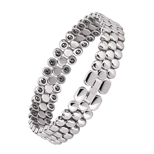 Jeroot Magnetarmband,Damen Gesundheit Magnetarmband Magnetische Armbänder für Arthritis Verschluss Armband Magnet Gesundheit Magnetarmband Hämatit Magnetarmband Energetix (Silver)