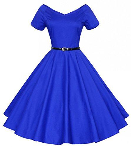 Eyekepper Robe Femme demoiselle vintage rockabilly col en v robe de soiree Bleu