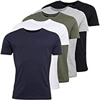 5 Pack Mens Classic Crew Neck T Shirt Men, Plain Cotton Men Tshirt Pack of Five, Casual Tee Top Clothes for Men