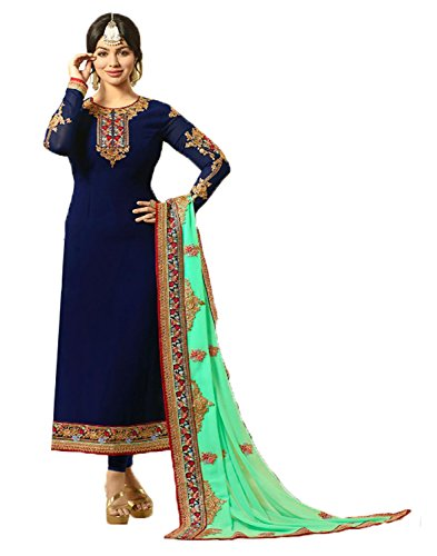 Salwar Suit Jesti Designer Women\'s Faux Georgette Navy Embroidery Gown Latest Party Wear Designe Straight Anarkali Semi Stitched Free Size Salwar Suit Dress Material With Dupatta ( Fiona-912 -Dress M