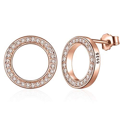 Presenski Rose Gold Ohrstecker Damen, Kleine Ohrstecker Kreis Ohrringe Silber 925 Zirkonia Ohrstecker für Mädchen - 3 Mutter-töchter-halskette, Stück