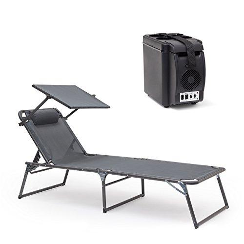 2 teiliges Sommer Relax Set L, Verstellbare Sonnenliege, Klappbar, Gartenliege, Elektro-Kühlbox 6 L, 12 V Isolierbox
