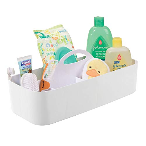 mDesign Baby Bath Box - Tote Box with Handle - Playroom Storage Tray with 11 Compartments - for Shampoo, Conditioner, Powder, Medicine & Other Baby Accessories - White