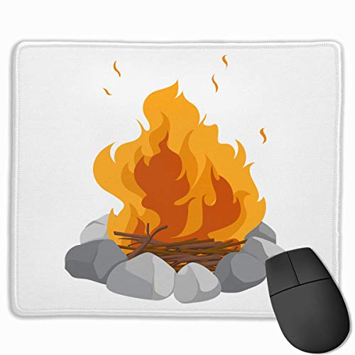 keiwiornb Non-Slip Mouse Pad Rectangle Rubber Mousepad Camp Fire Print Gaming Mouse Pad