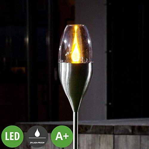 Lampenwelt LED Solarleuchten \'Jari\' (spritzwassergeschützt) (Modern) in Alu aus Edelstahl (A+, inkl. Leuchtmittel) - Solarlampe, Solarleuchte Garten