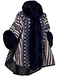 HANMAX Cape d hiver Femme à Capuche en Fourrure Fausse Manteau de Laine  Manches Longue 07abd4dd5293