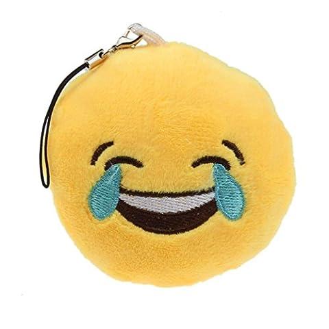 Yogogo Mignon Yeux Coeur Emoticon Smiley Emoji Porte-clé Peluche cadeau Pendentif Sac d'accessoires (C)