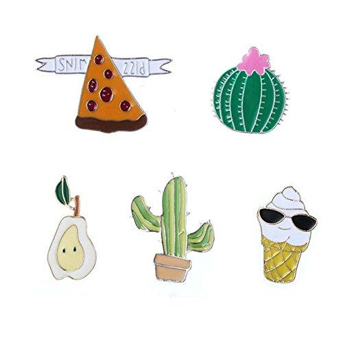 Fablcrew Broschen Damen Brosche Bekleidung Accessoires Für Mädchen und Frauen Gold Cartoon Kaktus Birne Pizza Eis Legierungsmaterial 5 Stück