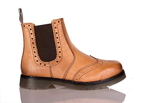 de2353cb0b64 Mens Premium 100% Leather Brogue Dealer Chelsea Boot with Gum Sole