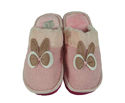 Takestop® pantofole ciabatte fiocco coniglio orecchie bau morbide calde comode antiscivolo peluche animale animali idea regalo invernali (36/37, rosa)