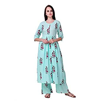 Tiger Exports Cotton Blue Printed Kurti And Palazzo Set For Womens | Size M