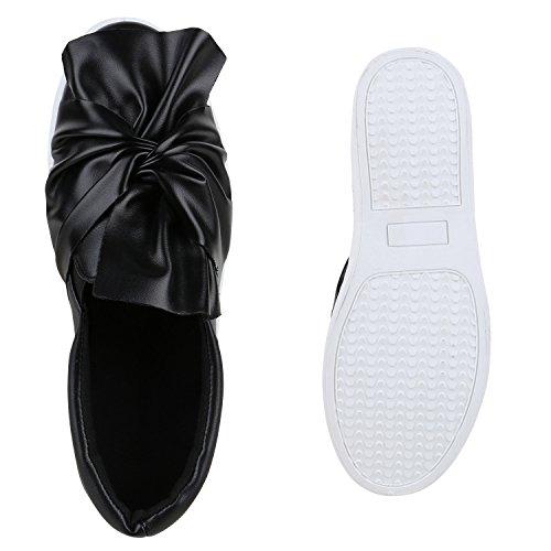 Damen Slipper Sneakers Slip-ons Lederoptik Schuhe Schleifen Schwarz Schleife