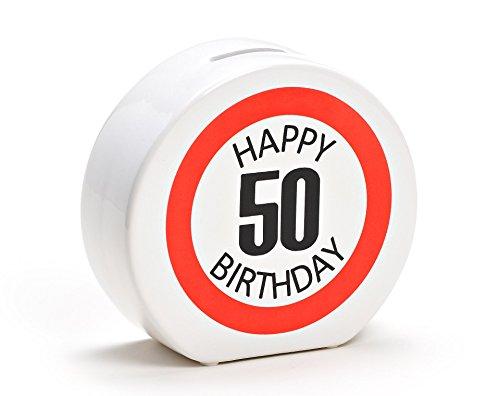 Spardose Geburtstag aus Keramik in 6 Varianten - Happy Birthday 50 - Geldgeschenk zum Geburtstag von WoMa - Weiß/Rot