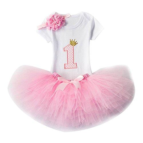 3pcs Geburtstag Kleider Für Mädchen Baby Tutu-Kleid Stirnband +T-Shirt Strampler + Rock Tutu Kleid Rose/1Jahr