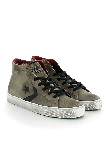Converse Pro Leather Mid mixte adulte, suède, sneaker high Fossil/Red Block/Turtledove