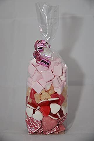 Love Gift Bag with Heart Shaped Chocolate, Sweets and Marshmallows