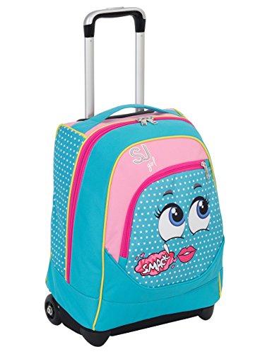 Trolley big - sj faccine - azzurro rosa - 31 lt uso zaino - spallacci a scomparsa totale - scuola e viaggio