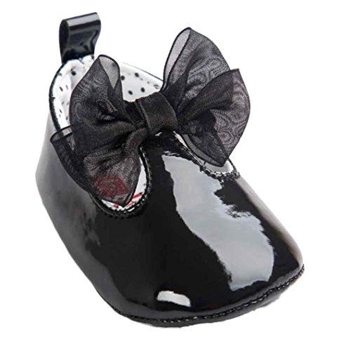 Chaussures de Bébé, LuckyGirls Bébé Fille Bowknot Chaussures en Cuir Sneaker Semelles Souples Anti-dérapantes Chaussures - Tissu Coton - 0~18 Mois (Âge: 12~18 Mois, Noir B)