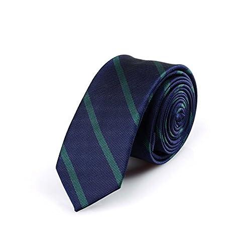 Z-P Mens Luxury Necktie Green Stripes Jacquard Skinny Microfiber Tie