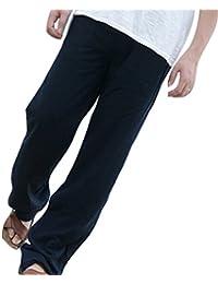 Juleya Pantalones Hombre Verano Pantalones de Playa Suaves Transpirables  Pantalones de Lino Sueltos con Cordón Pantalones afe2936e5e02