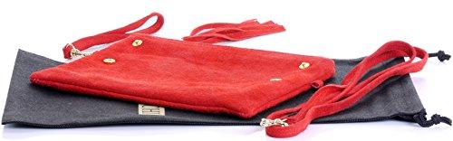 Italiano camoscio cuoio Fold Over frizione, polso o borsa a tracolla.Include una custodia protettiva marca. Rosso