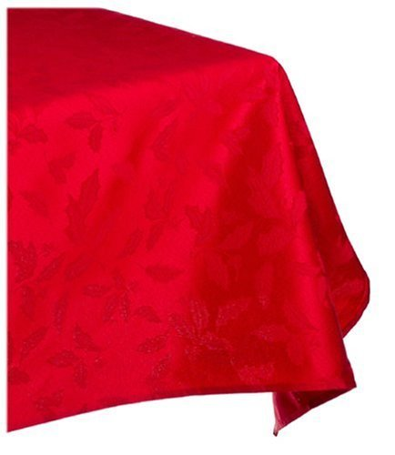Lenox Holly Damask Tablecloth, 60 by 84-Inch Oblong/Rectangle, Red by Lenox Lenox Holly