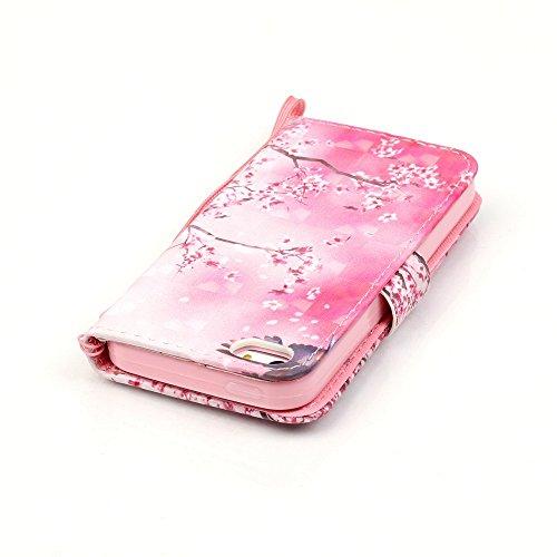 MOONCASE iPhone SE Coque, Creative 3D motif Case Portefeuille Housse en Cuir Etui à rabat avec Béquille pour iPhone 5 / 5S / iPhone SE -Shell Owl Cherry blossoms