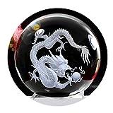 Pure Claro Cristal Grabado por láser, imagen en relieve con Crystal soporte de bola de dragón esfera cristal bola de cristal (80mm)