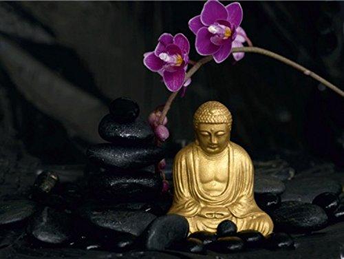 1art1 59483 Buddhismus - Buddha Statue, Stein-Balance Und Orchidee, 4-Teilig Fototapete Poster-Tapete 360 x 255 cm (Orchidee-statue)