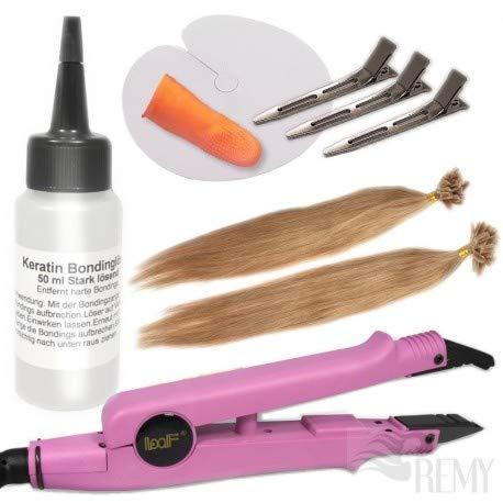 """RemyHaar.eu - Starter Set Haarverlängerung 27 Teile U-Tip 0,5g 20x Echthaar Strähnen Bonding Extensions Wärmezange Glatt - 60cm 24"""", 16#(Dunkelblond)"""