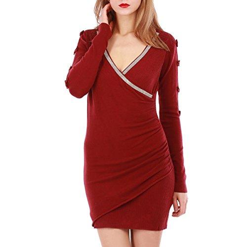 La Modeuse - Robe pull courte à coupe cintrée et manches longues Rouge