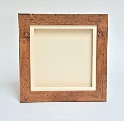 "3d Deep Box Picture Frame Display Memory Box For Medals Memorabilia Flowers Etc (Brown, 8x8"")"
