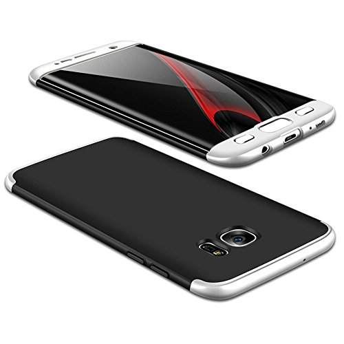 JMGoodstore Funda Galaxy S7 Edge,Carcasa Samsung S7 Edge,Funda 360 Grados Integral para Ambas Caras+Cristal Templado,[360°] 3 in 1Slim Fit Dactilares Protectora Skin Caso Carcasa Cover Plata+Negro