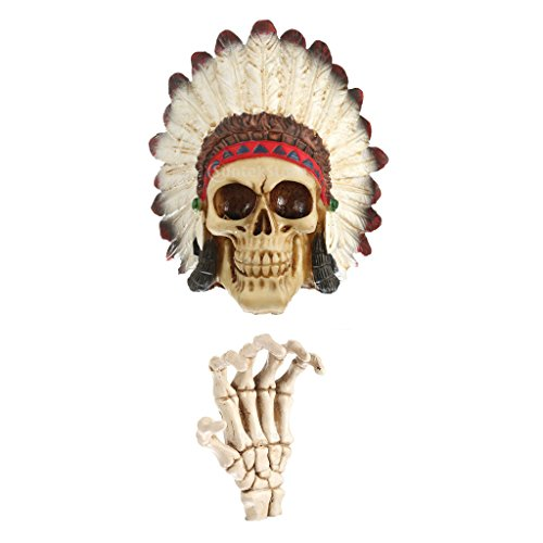 MagiDeal Modèle Squelette Crâne à Coiffe Indien Chef et Main Gauche en Résine Décoration Gothique pour Holloween